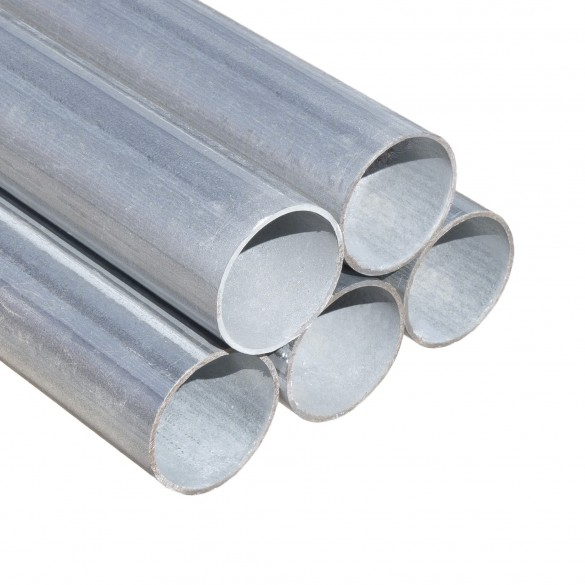 """10' 6"""" Long x 1 3/8"""" Round Residential Fence Pipe Tubing [0.055"""" Wall] - Galvanized Steel"""