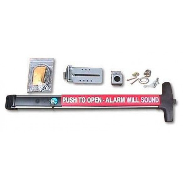"""36"""" Silver DAC Superior Detex Exit Bar Kit with Alarm and Lock Box"""