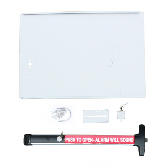 """Chain Link DAC Superior Detex 36"""" Exit Bar Kit w/ Silver Adjustable Mounting Plate and Lock Box - Exit Alarm Bar (Stainless Steel)"""