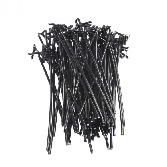 """Chain Link 6 1/2"""" Long Black Fence Ties [100 Quantity] for 2"""" [1 7/8"""" OD] Posts - Fence Preties (Aluminum)"""