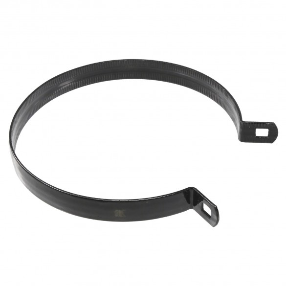 "Chain Link 6 5/8"" Black Beveled Brace Band [12 Gauge] - Rail End Band (Galvanized Steel)"