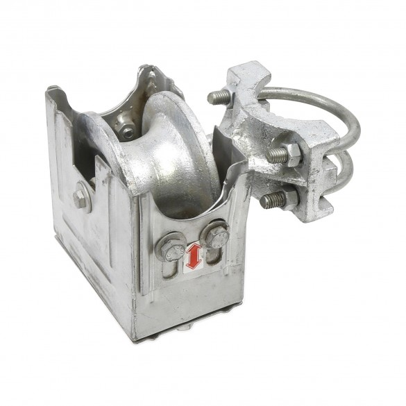 """2 1/2"""" Round Post x 1 5/8"""" Round Gate Frame Steel Mini Cantilever Roller With Safety Cover For Sliding Gates - 4"""" Wheel"""