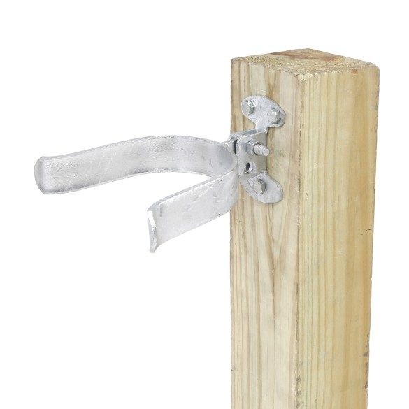 "Chain Link 4"" [4"" OD] Wall Mount Drop Fork Latch Kit Galvanized - Gate Fork Latch - Pressed Steel"