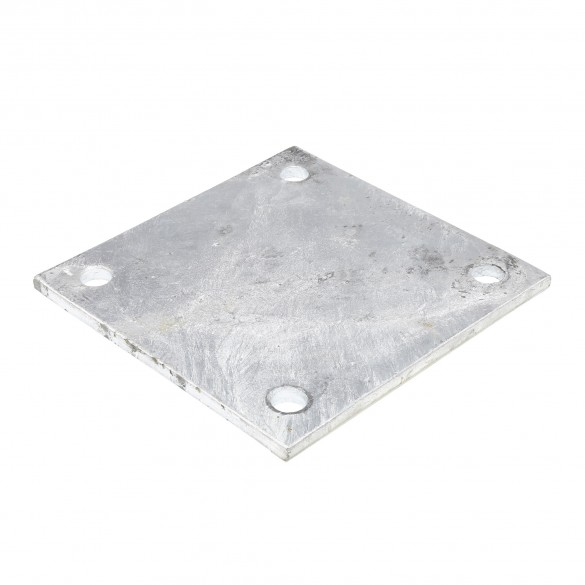 """Chain Link 8"""" x 8"""" x 1/4"""" Square Weldable Surface Mount Floor Flange Base Plate (Galvanized Steel)"""