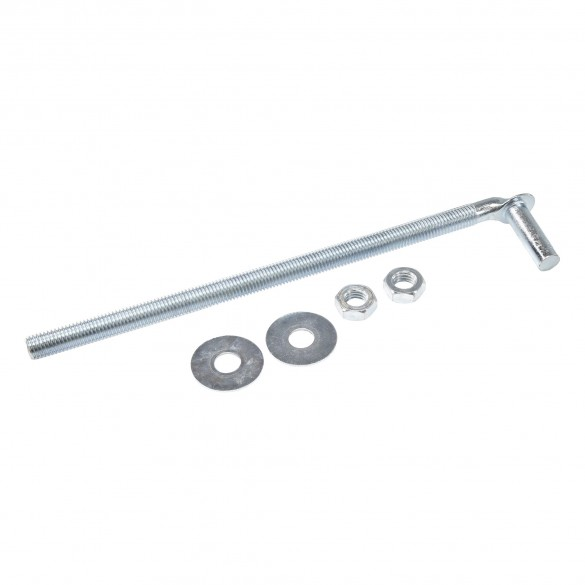 """Chain Link 5/8"""" x 13"""" Male J-Bolt Gate Hinge w/ 2 Nuts and Washers (Galvanized Steel)"""