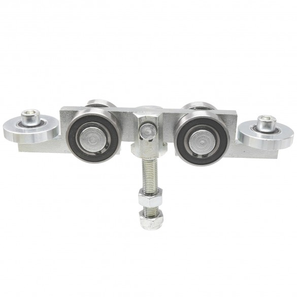 "4-Wheel Truck/Trolley Assembly for Cantilever Gates w/ 2"" [1 7/8"" OD] Guide Wheels and 2"" Standard Bearings for Internal Truck (Galvanized Cast Steel)"