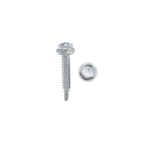 """Chain Link 1 1/4"""" #10 Hex Zinc Plated Heavy-Duty Self Tapping Tek Screw w/ Washer Head (Steel)"""