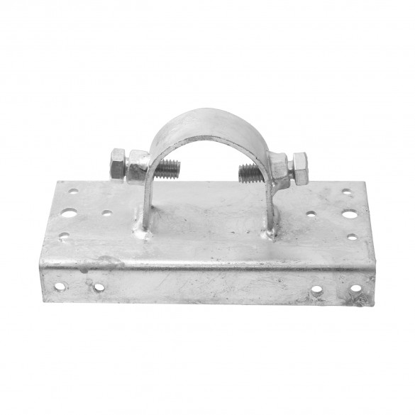 """Chain Link 2"""" [1 7/8"""" OD] x 6"""" Wooden Fence to Post Line Adapter (Galvanized Pressed Steel)"""