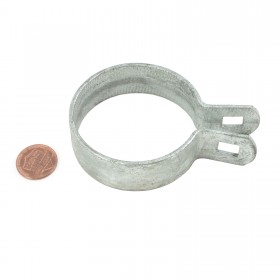 "Chain Link 2 1/2"" [2 3/8"" OD] Beveled Brace Band [12 Gauge] - Rail End Band (Galvanized Steel)"