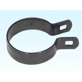 "Chain Link 1 5/8"" Black Beveled Brace Band [12 Gauge] - Rail End Band (Galvanized Steel)"