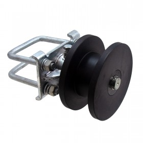 "Plum Fittings Chain Link 4"" Square Post x 2"" Square Gate Frame Premium Nylon Cantilever Roller for Sliding Gates (Galvanized Cast Steel)"