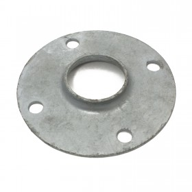 "Chain Link 2"" [1 7/8"" OD] Surface Mount Floor Flange - Round Disk Flange  (Pressed Steel)"
