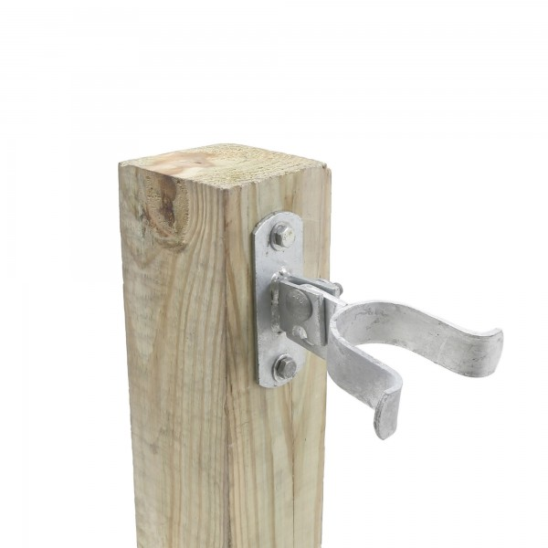 """2"""" (1 7/8"""" OD) Chain Link Wall Mount Drop Fork Latch Kit Galvanized Pressed Steel (Installation Shown As Example)"""