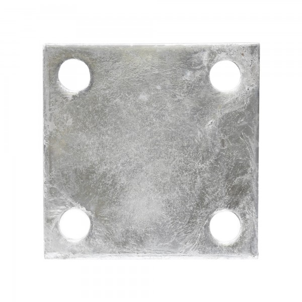 "Chain Link 1/4"" x 4"" x 4"" Weldable Surface Mount Floor Flange - Base Plate (Galvanized Steel)"