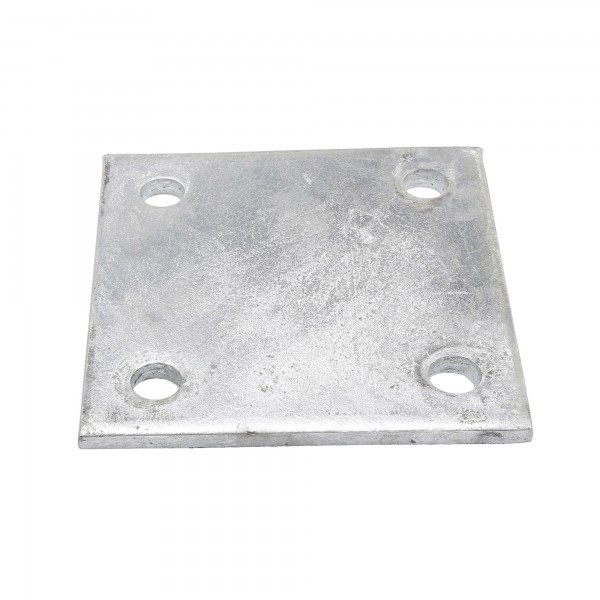 "Chain Link 3/8"" x 6"" x 6"" Weldable Surface Mount Floor Flange - Base Plate (Galvanized Steel)"