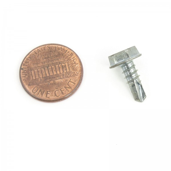"1/2"" #10 Hex Zinc Plated Steel Self Tapping Tek Screws (Washer Head) - Penny Shown For Scale"
