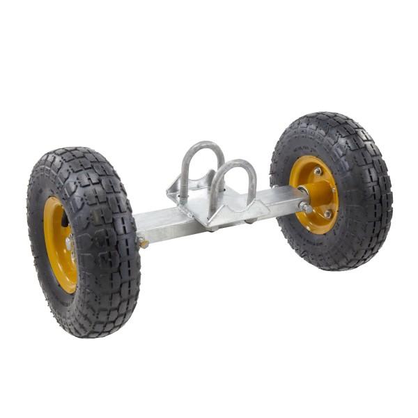 "Pneumatic Double Wheel Sliding Gate Roller 12"" Wide Carrier 10"" Wheels - PNWC12"