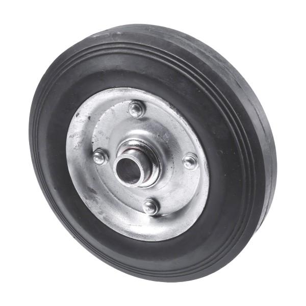 "Chain Link 6"" Solid Black Rubber Wheel for Residential Gates - Rut Runner (Steel)"