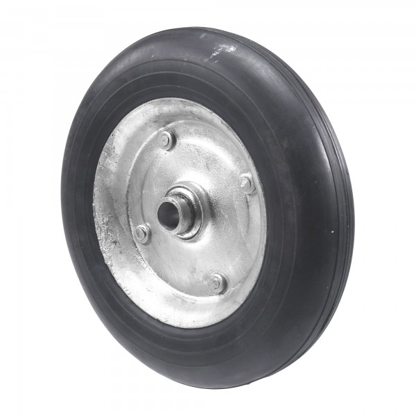 """Chain Link 8"""" [7 1/2"""" OD] Solid Black Rubber Carrier Wheel for 5/8"""" Axle - Rut Runner (Steel)"""