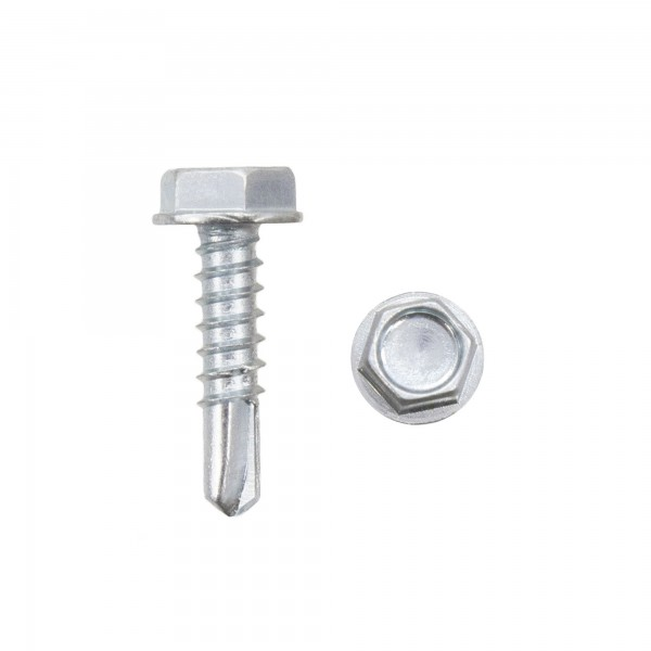 "3/4"" #10 Hex Zinc Plated Steel Self-Tapping Tek Screws (Washer Head) - SDS3"