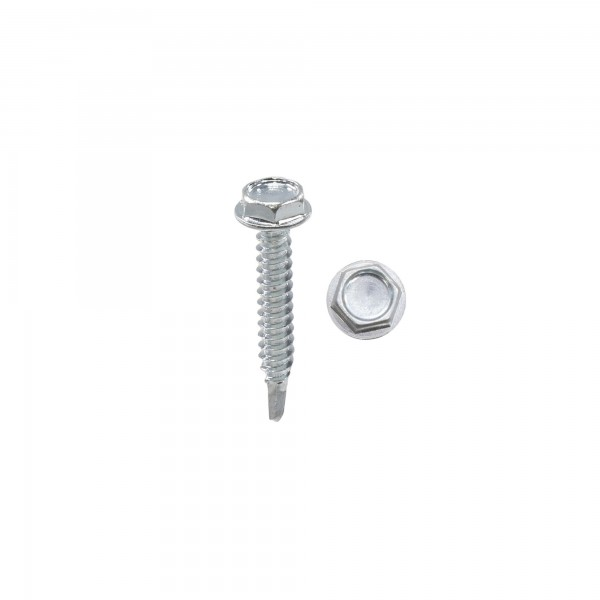 "Chain Link 1 1/4"" #10 Hex Zinc Plated Heavy-Duty Self Tapping Tek Screw w/ Washer Head (Steel)"