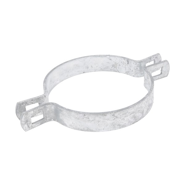 """Chain Link 4"""" Two-Way Brace Band - 180 Degree Rail End Band (Galvanized Steel)"""