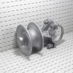 """Chain Link 3 1/2"""" Round Post x 2 1/2"""" [2 3/8"""" OD] Round Gate Frame Cantilever Roller for Sliding Gates (Galvanized Cast Steel) - Grid Shown For Scale"""
