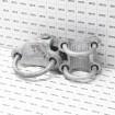 "Chain Link 3"" [2 7/8"" OD] Adjustable 180° Offset Arm Hinge Industrial Gate Hinge (Galvanized Cast Steel) - Grid Shown For Scale"
