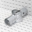 """Chain Link 2 1/2"""" [2 3/8"""" OD] x 1 5/8"""" Line Rail Clamps - Boulevard Clamp (Galvanized Steel) - Grid Shown For Scale"""
